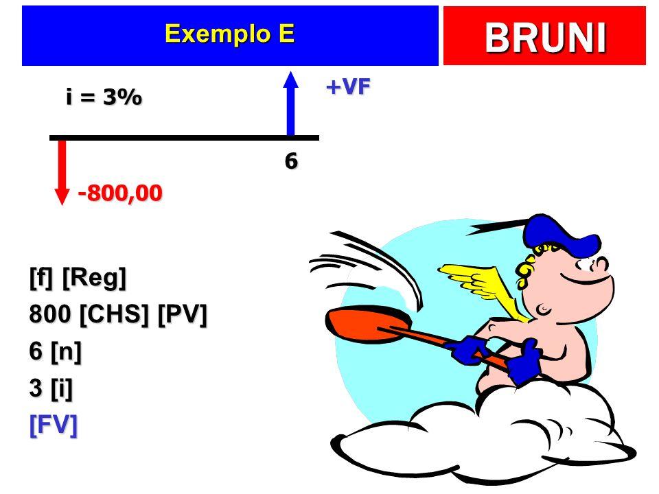 Exemplo E [f] [Reg] 800 [CHS] [PV] 6 [n] 3 [i] [FV] +VF i = 3% 6